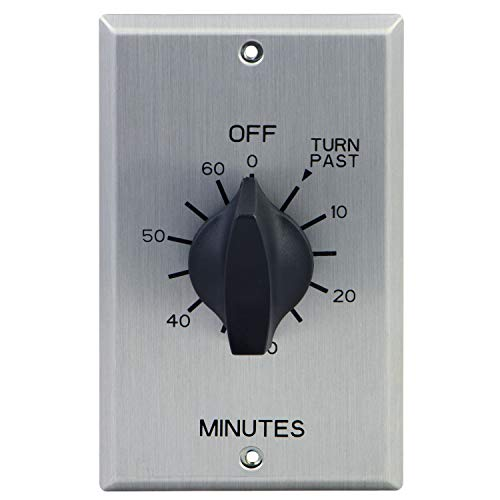GE Minute Countdown Timer, in-Wall Mechanical Switch, Spring Wound, Up to 60 Min, Auto Shut Off, No Neutral Wire Needed, Ideal for Lights, Exhaust Fans, and Heaters, 20A Heavy Duty, 15305, Aluminum ()