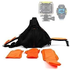 DURAGADGET-Mochila, color negro/naranja triángulo para cerrar, Q.2507 Q.2655 y Q.2755-Cámara de deporte, varios bolsillos y separador