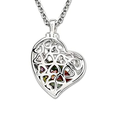 Getname Necklace Personalized Heart Cage Family Tree Necklace with Birthstones Sterling Silver 925 Couple Pendants Mother s Day Gifts