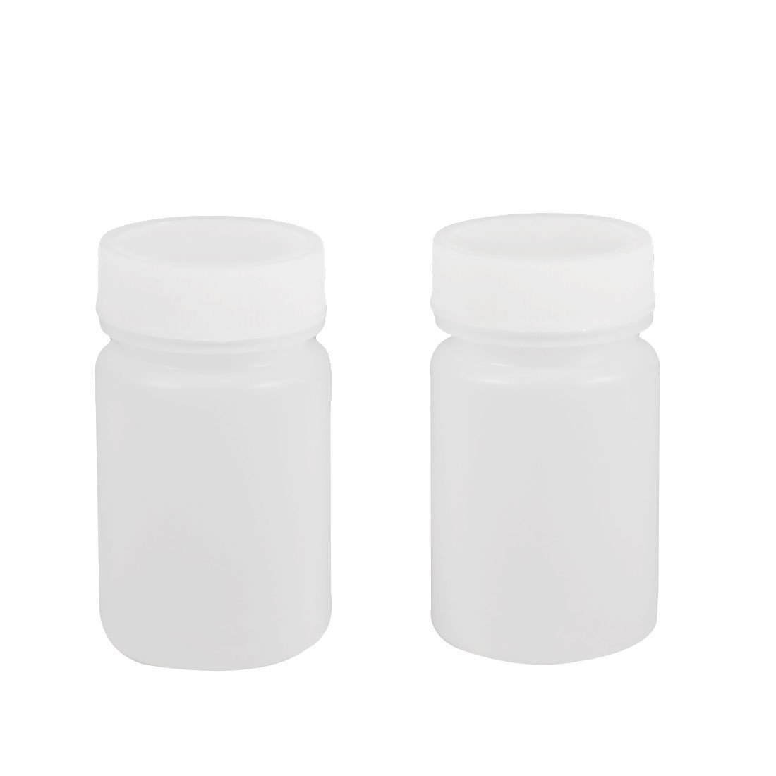 50ml White Plastic Cylinder Shaped Chemical Reagent Bottles 2 Pcs Sourcingmap a12101800ux0407