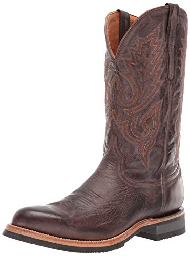 Lucchese Bootmaker Men's Rusty Western Boot, Dark Brown, 10 D - Work Boots Lucchese