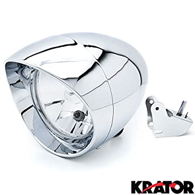 Krator 6 3/4 Custom Chrome Headlight Head Light for any Harley, Honda, Yamaha, Suzuki, Kawasaki, Custom Bike, Cruiser, Choppers