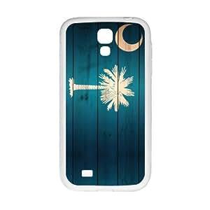 Novelty South Carolina States Flag Wood Pattern SamSung Galaxy S4 I9500 Case Cover TPU Laser Technology Rubber Sides Shell