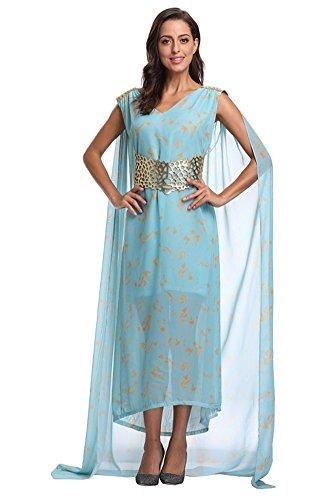 Women's Daenerys Targaryen Costume, Halloween Dragon Queen Cosplay Dress with Cloak (Small) ()