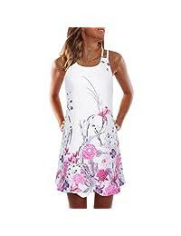 WILLTOO Womens Halter Neck Floral Print Tunic Tank Dress Mini Beachwear Dress Sundress