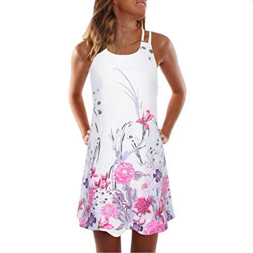 aihihe Sleeveless Tank Dresses for Women Casual Summer Floral Print Boho Beach T-Shirt Loose Sundress (001 White,S)]()