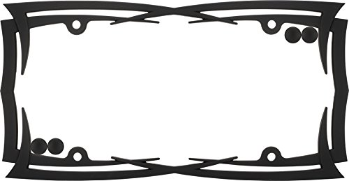 (Cruiser Accessories 22004 Rubberized Black 1 License Plate Frame with Fastener Caps)
