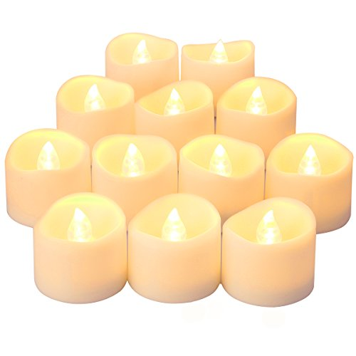 ORIA Flameless Candles, Led Candle Lights, Tea Lights, Realistic Bright Bulb, Battery Operated, Warm White For Halloween, Christmas, Party, Festival (Set of 12)