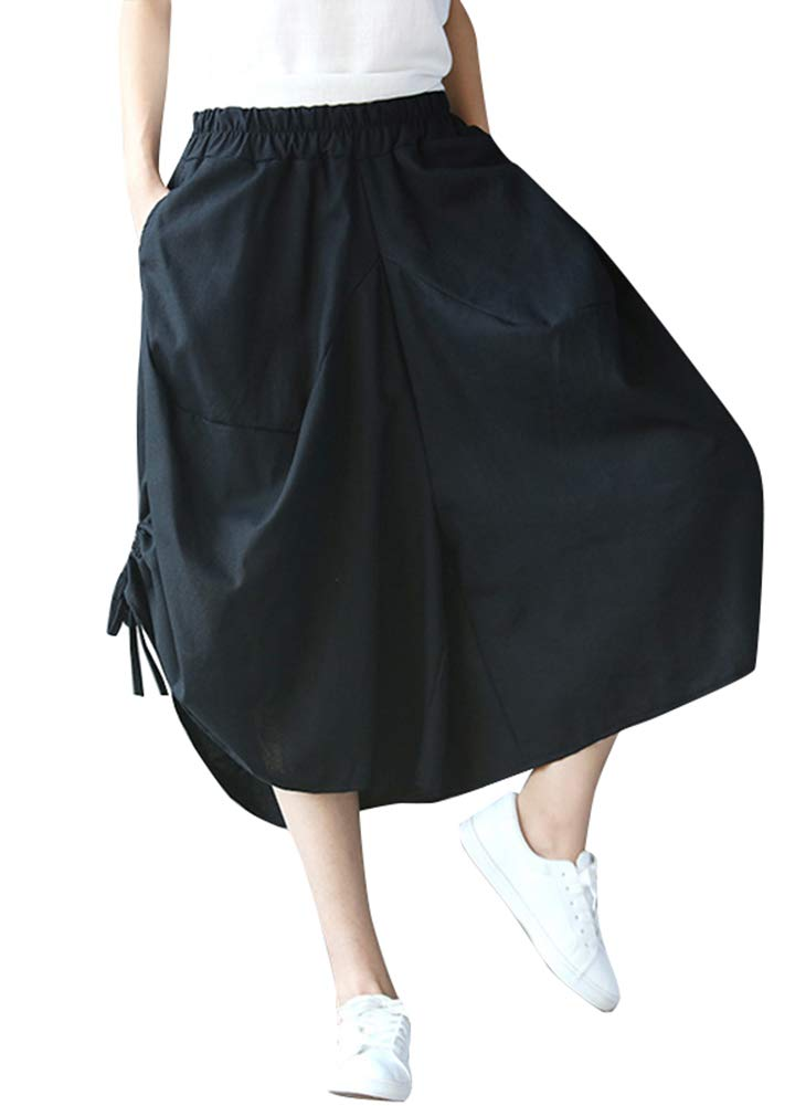 Romacci Women Cropped Baggy Pants Wide Legs Drawstring Hem Solid Loose Lantern Trousers