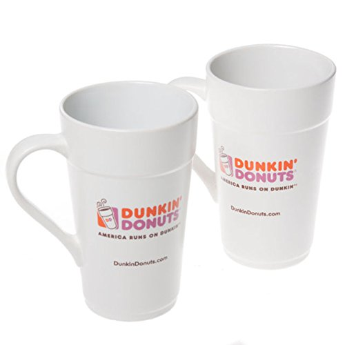 2 Pack of Dunkin Donuts 16 oz White Ceramic Coffee Mug 2013 Classic Replica (Classic Coffee Mug)