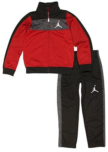 NIKE Jordan Air Little Boys' Elephant Print Tricot Tracksuit Jacket & Pants Set (Black/Gym Red/Cool Grey/White, 3T)