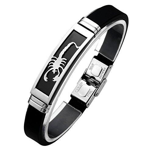 Zysta Bijoux Bracelet en caoutchouc noir manchette Homme Femme Punk en acier inoxydable-Scorpions