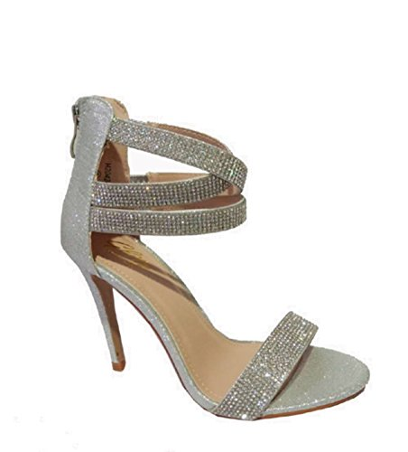 46ff2a618 Womens Ladies Diamante Sandals Sparkly High Heel Strappy Stiletto Prom  Party Wedding Bridal Size 3-