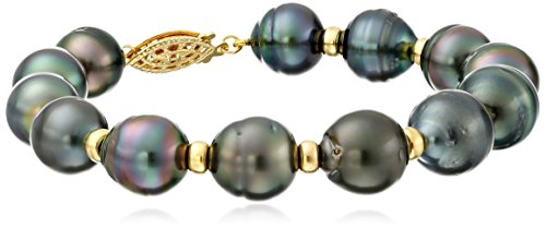 Yellow-Gold-Over-Sterling-Silver-Black-Baroque-Tahitian-Cultured-Pearl-with-Rondelle-Strand-Bracelet