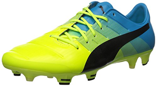 PUMA Men's Evopower 1.3 FG-M, Safety Yellow/Black, 11 D US