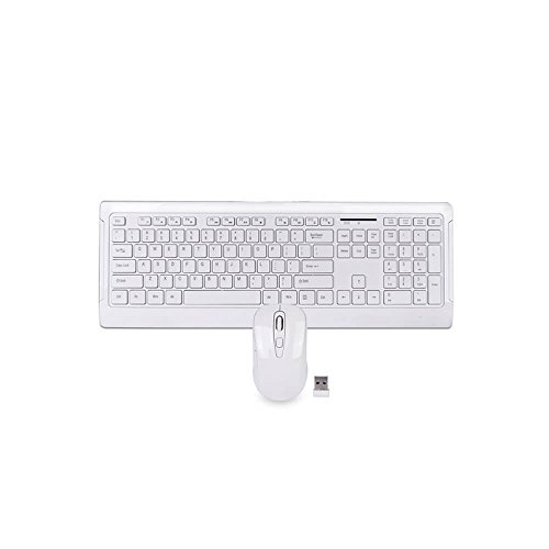 106 Key 2.4Ghz Wireless Multimedia Keyboard & Optical Mouse Set - White - LD-266-966