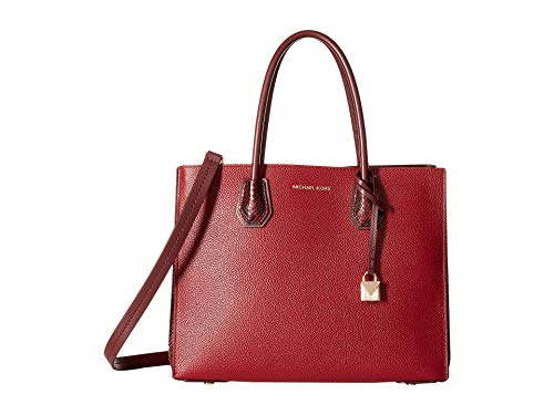 Michael Kors Mercer Large Pebbled and Embossed Leather Accordion Tote MAROON/OXBLD