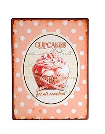 La Finesse Schild Rosa Cupcakes For All. Retro Vintage