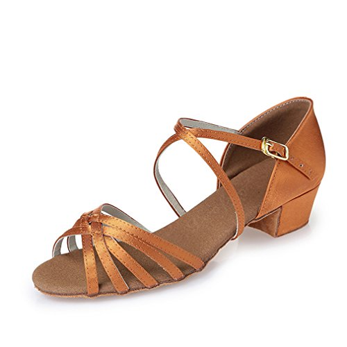 Latin Children's Modern Shoes Square Shoes Sandals Root Shoes Onecolor Jazz Soft Adult Bottom Dance BYLE Dance Square Ankle Latin Satin Strap Leather Samba Dance BOZwqX7W