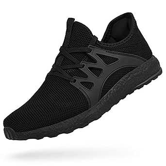 Men's Tennis Shoes Slip On Knit Walking Running Gym Sneakers (US6.5, Black)