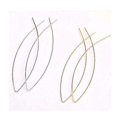 YRY Big Hoop Earrings Threader Copper Rose Gold Color Silver Color Fish Line Dangle Threader Earrings for Women Girl (Gold+Silver(2 Pairs))
