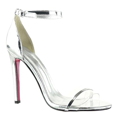 Angkorly - Scarpe da Moda scarpe decollete sandali stiletto sexy elegante donna fibbia lucide Tacco Stiletto tacco alto 11 CM - Argento
