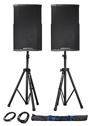 "(2) Cerwin Vega CVE-15 1000w 15"" Powered DJ PA Speakers w/Bluetooth, DSP+Stands"