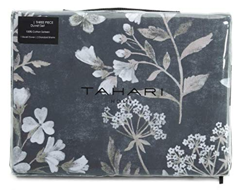Tahari Home King Duvet Cover Set Vintage Botanical Garden Butterflies Flower Print Cotton Sateen Bedding Gray Taupe White