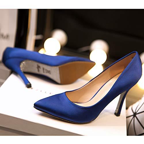 HRCxue Pumps Spitze rote High Heel Stiletto Satin Schwarze Arbeitsschuhe flachen Mund einzelne Schuhe Hochzeitsschuhe weiblich 39 (7,5 mit hoch) blau