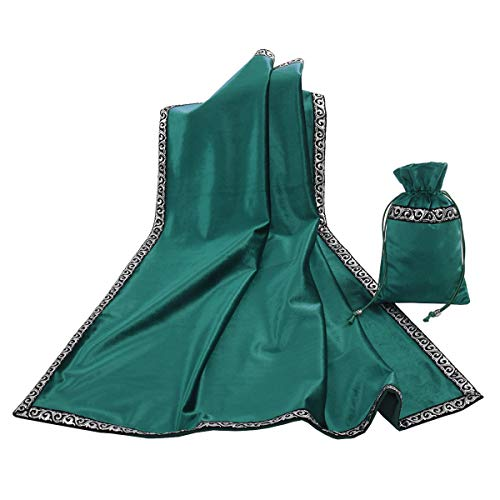 BLESSUME Altar Tarot Table Cloth Divination Wicca Velvet Cloth with Tarot Pouch (Green) (Green Velvet Tablecloth)