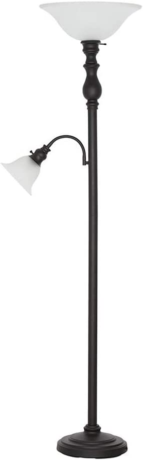 Ravenna Home Torchiere Standing Floor Lamp with Reading Light and LED Light Bulbs - 69.75 Inches, Dark Bronze with Frosted Glass Shade