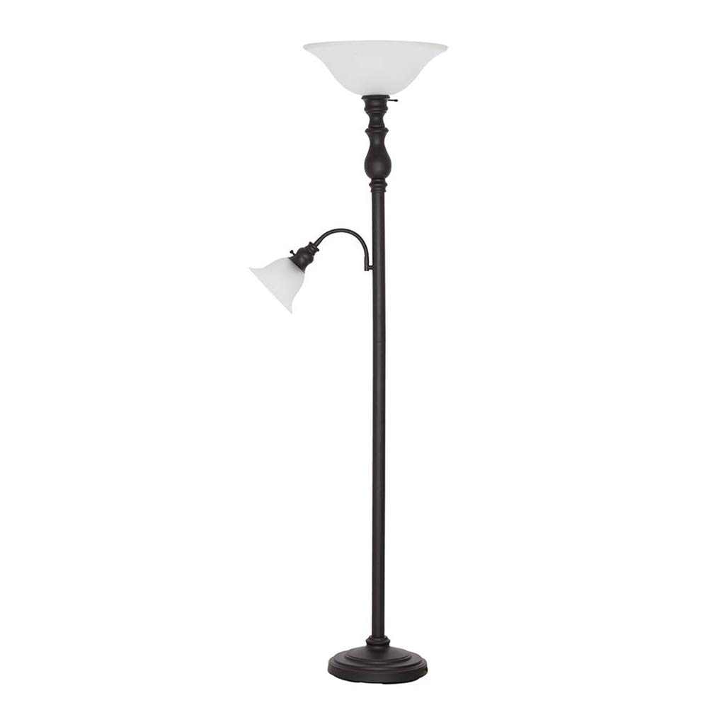 Ravenna Home Torchiere Floor Lamp with Reading Light And LED Light Bulbs - 69.75 Inches, Dark Bronze With Frosted Glass Shade