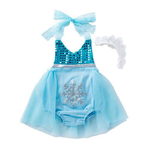 belababy Girls' Princess Elsa Fancy Dress Costume, Sky Blue 12months -
