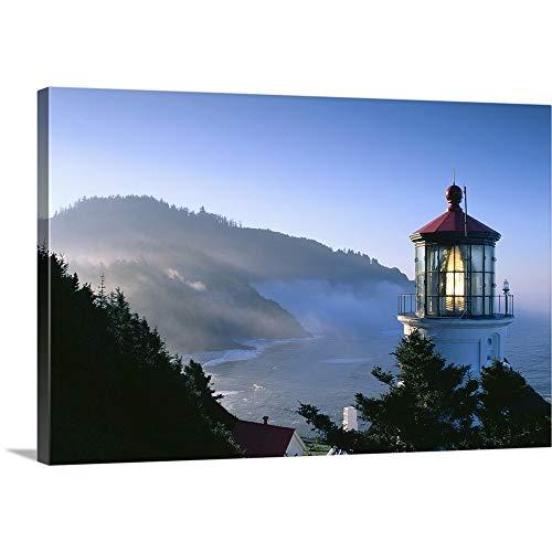 Art Print Greg Stocks - Oregon, View of Heceta Head Lighthouse in Early Morning Sun Canvas Wall Art Print, 18
