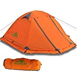 RioRand Double Layer 2 Person Aluminum Rod Outdoor Camping Tent with Top Wind 2 Plus & Snow Skirt