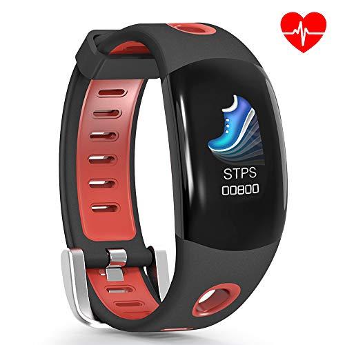 ROADTEC Fitness Tracker with Heart Rate Monitor for Men Women Kids, IP67 Waterproof Activity Tracker Smart Wristband, 3D Screen Pedometer Sleep Tracker Sedentary Alert Call Reminder (Red)