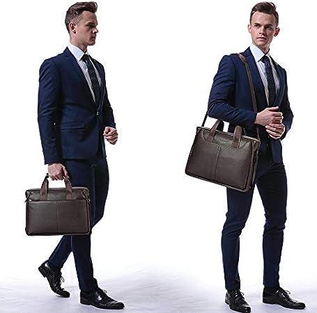 BISON DENIM Mens Briefcase Leather Business Work Bag 14 Inch Laptop Messenger Bag Ipad Briefcase Handbag for Men Large Brown-3C