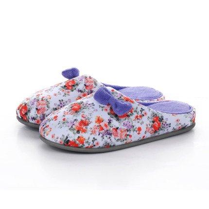 En automne et en hiver, pantoufles maison, femmes, coton, doux, confortable, semelle épaisse, anti-dérapant , purple , 38/39