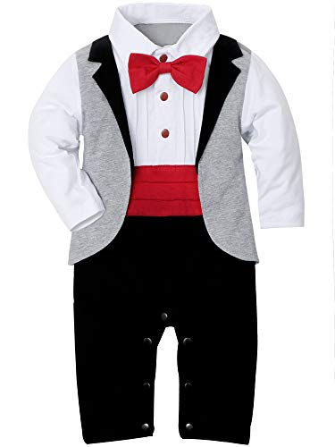 (WESIDOM Baby Boys Tuxedo Outfits Gentleman Romper Jumpsuit with Bow Tie Wedding Suit 3-18 Months)