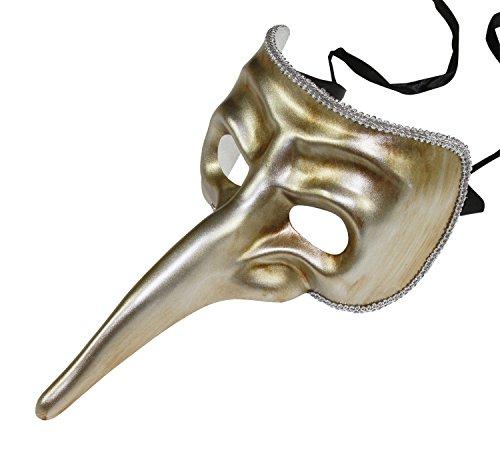 KAYSO INC Men's Vintage Long Nose Masquerade Mask (Silver Venetian Long Nose Mask)