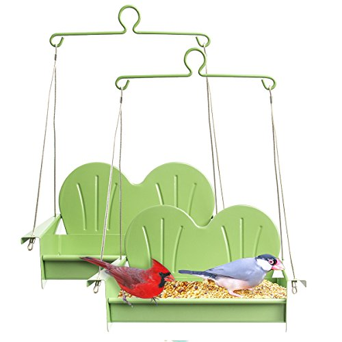 Hiatt (2 Pack Patio Swing Set Hanging Bird Feeder Metal Outdoor Décor Balcony Garden Yard Decoration Patio Set