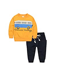 Baby Girl 2pcs Set Soft Cotton Sweater Soldiers with Bus Pattern Tops+Long Pants
