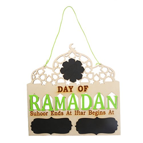 Hardli Days Of Ramadan Wood Chalkboard Hanging Plaque, Islamic Prayer Decoration Gifts,Party Festival Supplies ()