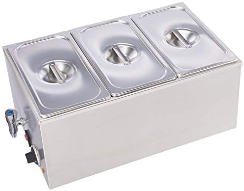 SYBO ZCK165BT-3 Commercial Grade Stainless Steel Bain Marie Buffet Food Warmer Steam Table for Catering and Restaurants, (3 Sections with Tap), Sliver