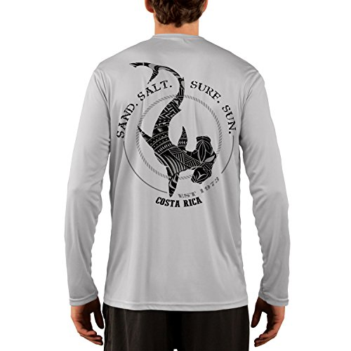 - SAND.SALT.SURF.SUN. Costa Rica Polynesian Hammerhead Tribal Men's UPF 50+ Long Sleeve T-Shirt Large Pearl Grey
