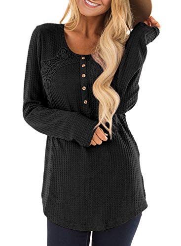 Waffle Knit Trim Tops - Malaven Womens Waffle Knit Button Tunic Blouses Long Sleeve Crochet Trim Scoop Neck Henley Shirts Casual Tops