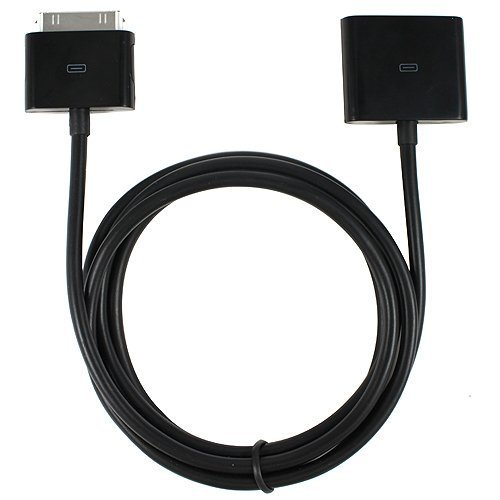Switty Cable alargador de 30 pines macho a hembra para iPod y iPhone, color negro (4 pies)