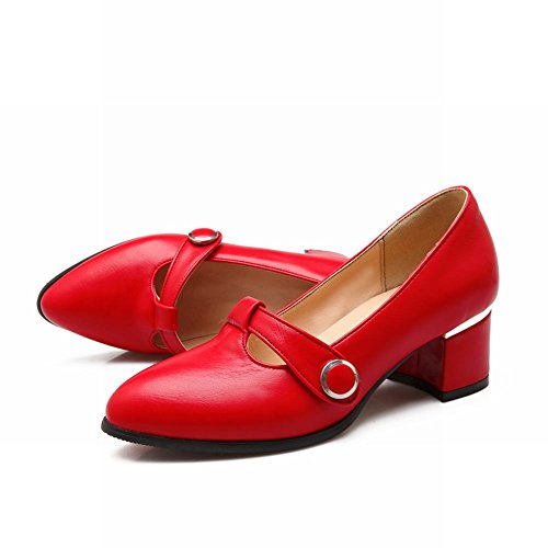 Latasa Kvinnor Modet-rem Pekade-toe Chunky Pumpar Shoes Red