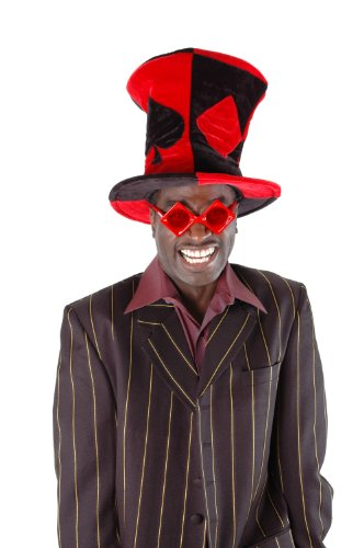 Costumes Top Hats For Sale (elope Red and Black Ace Madhatter Hat)