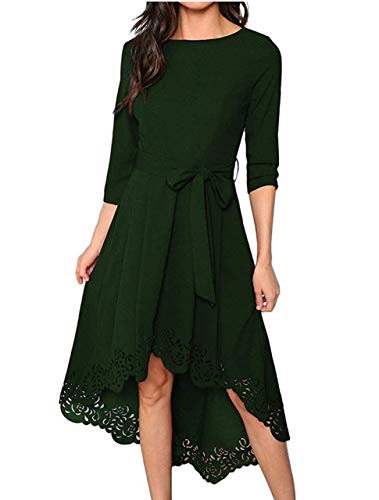 Milumia Women's Floral Lace Cut Dip Hem Round Neck Midi Party Dress with Belt Green Small (Belted Lace Belt)